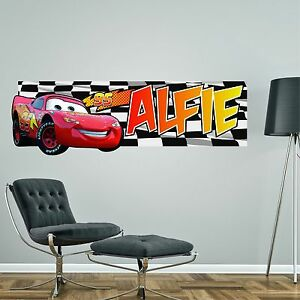 LIGHTNING MCQUEEN CARS PERSONALISED WALL STICKER childrens bedroom ...