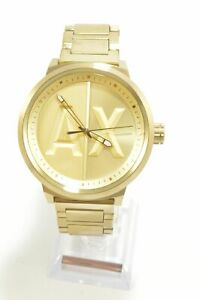 Armani-Exchange-AX1363-Gold-Dial-Gold-Ion-plated-Bracelet-Men-039-s-Watch