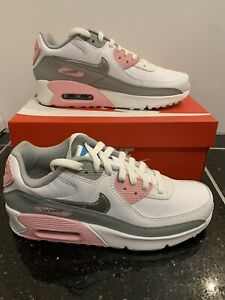 Nike-AIR-MAX-90-LTR-leather-GS-Bianco-Rosa-Argento-UK-6-EU-39-US-6-5Y-Nuovo-di-Zecca