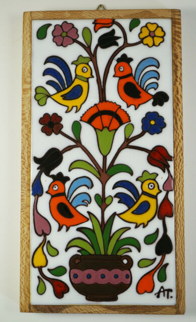 Vintage Art Tile Wall Hanging Mid Century Handpainted Birds