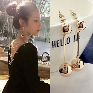 Fashion-Women-Bling-Ball-Earrings-Long-Chain-Drop-Dangle-Earrings-Jewelry-1-PAIR