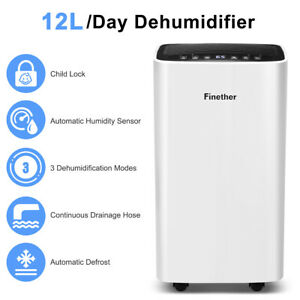 Details about 12LD Dehumidifier Air Purifier Damp Anion Laundry Drying Mould Home Timer UK