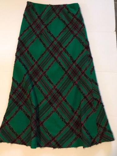 Vintage Arola Finland Wool Maxi Skirt Diamond Plai