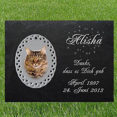 TIERGRABSTEIN Grabstein Gedenkstein Katzen Katze-009 ► Fotogravur ◄ 20 x 15 cm