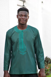 afac8932 Details about Embroidered Green Men's Long Sleeve Shirt Ankara African  Clothing Fashion Wear