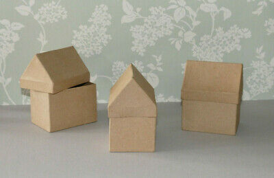 New Set Of 3 Papier Paper Mache House Shaped Gift Box To Paint Decorate Ebay