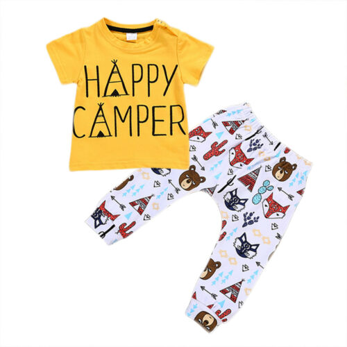 2pcs Infant Newborn Kids Baby Boys Girls T-shirt Tops+Pants Outfits Clothes Set