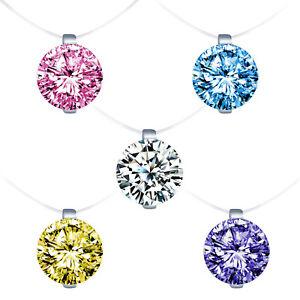925-Sterling-Silber-Zirkonia-Damen-Halskette-Anhaenger-Transparente-Nylonkette