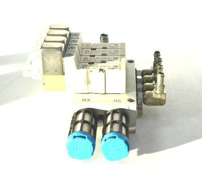 4 x SMC SYJ3140-5LOU-Q Magnetventil mit Ventilinsel
