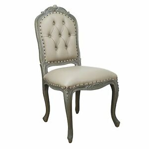 French Classical Style Wooden Studded Upholstered Faux Leather