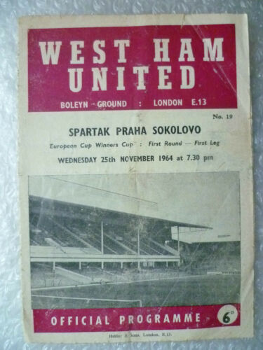 1964 European Cup Winners' Cup WEST HAM UNITED v SPARTAK PRAHA SOKOLOVO, 25 Nov
