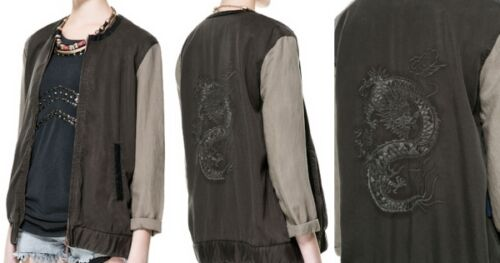 Zara 1255 Dragon Brodé Moyen Kaki Taille Réf 016 Veste Bowling M Kaki rqfgarSw
