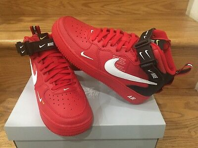 Nike Air Force 1 Mid Utility Red Black White GS Boys Kids Sz