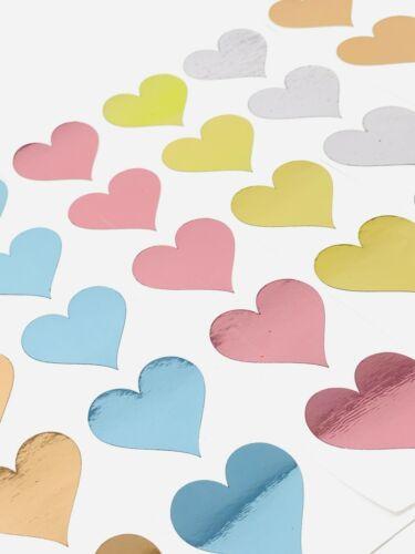 Feuille Coeur Autocollants Miroir Pink Rose Or Argent Bleu Mariage Baby Shower x20