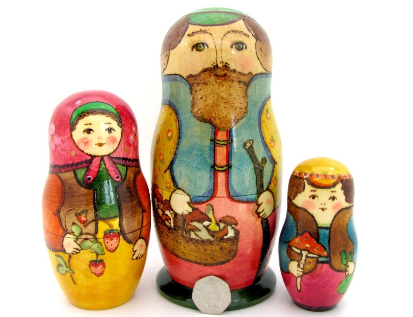 Russische Verschachtelung Puppe Matryoshka Groß 3 Dad & Pilze Mama Erdbeere