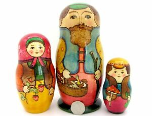 Acheter Pas Cher Russian Nesting Doll Matriochka Big 3 Papa & Champignons Mama Fraise Ryabova-afficher Le Titre D'origine Belle Et Charmante