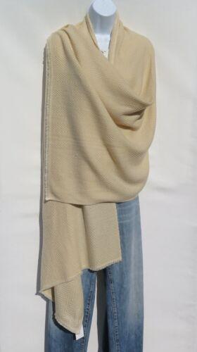 Light Beige Wide Herringbone|4 Ply|Handmade 100/% Cashmere|Himalayan|Shawl