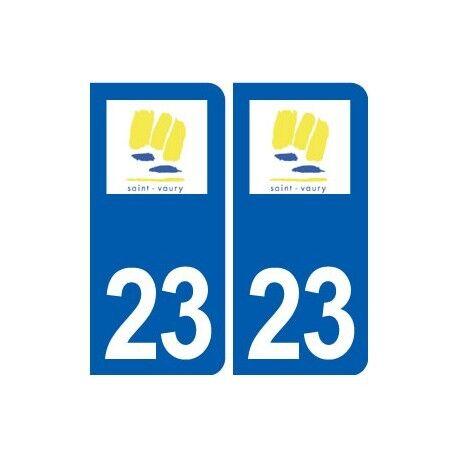 23 Saint-Vaury logo ville autocollant plaque sticker arrondis