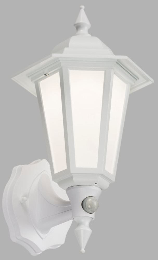 LED LANT2W Weiß Wandhalterung Laterne Pir Außen Traditionell Garten Lampe