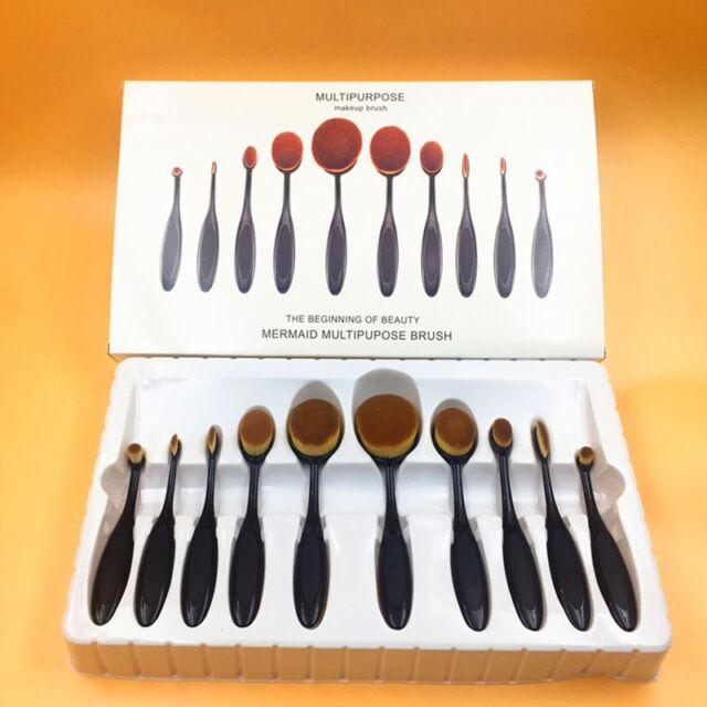 10pcs Pro Makeup Brushes Set Toothbrush Shaped Foundation Power Oval Cream Puff