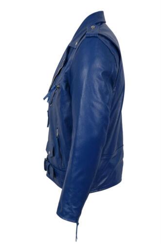 in pelle pelle in Giacca Brando Blue da Royal classica uomo vera motociclista da 8gx4n