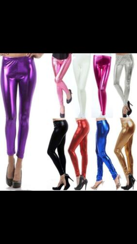Donna Stretch Metallico PVC Look Bagnato da Discoteca Americana Lucido Leggings Pantaloni UK 8-18