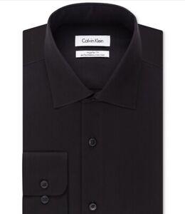 Calvin-Klein-Steel-Dress-Shirt-Men-s-Big-amp-Tall-Classic-Herringbone-Size-17-5