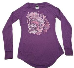 Women's Harley-Davidson XS Purple Long Sleeve Tunic Shirt Ladies Top Extra Small