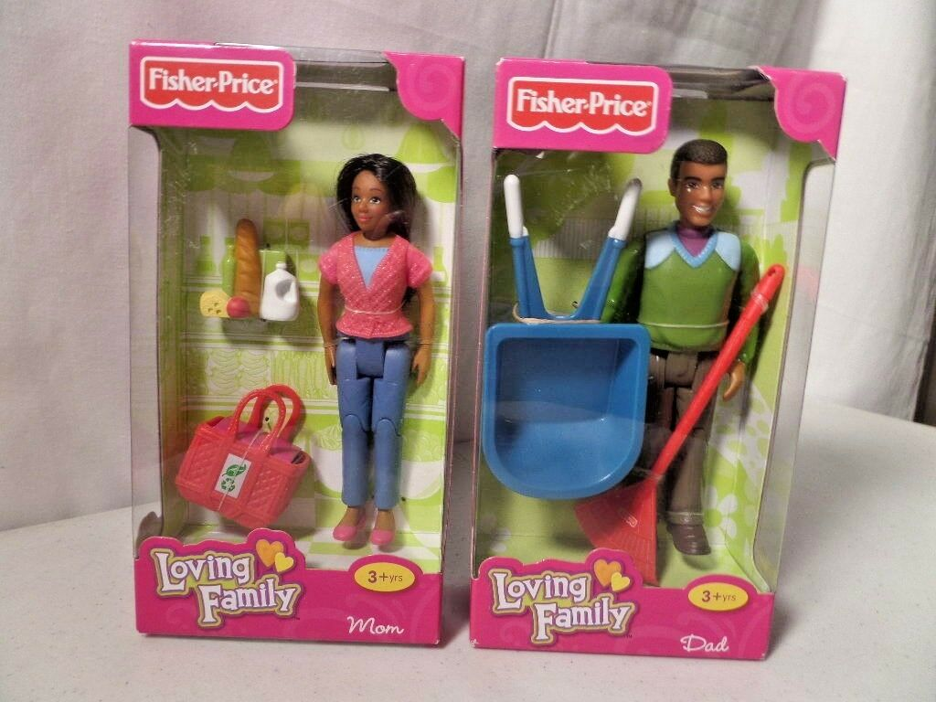 Loving Family African American Dad & Mom Mom Mom -Fisher-Price (Lot of 2) Retired 4db263