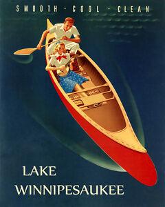 New Hampshire Canoe Lake Winnipesaukee USA Travel Vintage Poster Repo FREE S//H
