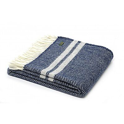 Tweedmill Pure New Wool Fishbone 2 Stripe Throw - Navy/Silver Grey