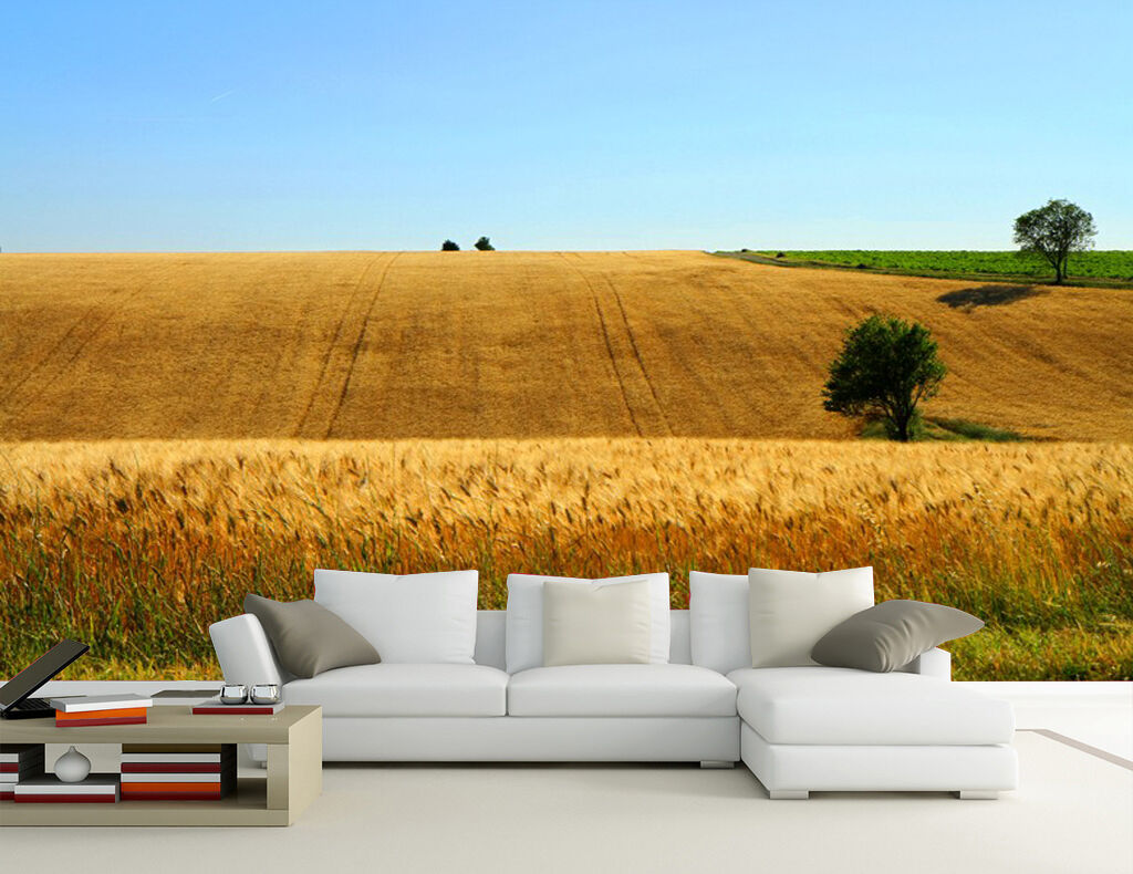 Huge 3D Undulating Wheat Fields Wall Paper Wall Print Decal Wall Deco Indoor