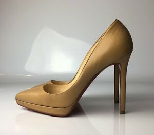 outlet store 1b0e3 acb82 Details about Christian Louboutin Pigalle Plato 120 Nude Kid Leather Heels  Euro 36.5