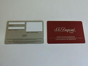 Ehrgeizig S.t. Dupont Paris Blanko Echtheitszertifikat Für Lederwaren Silberne Version Neu