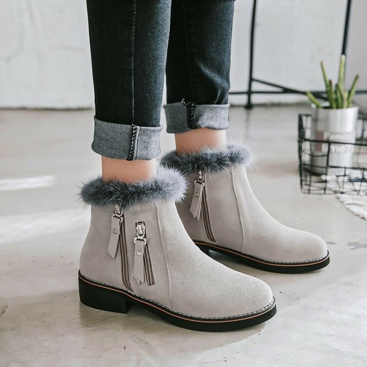 Fashion Womens Winter Fur Trim Zipper Round Toe Suede Block Heels Leather Boots
