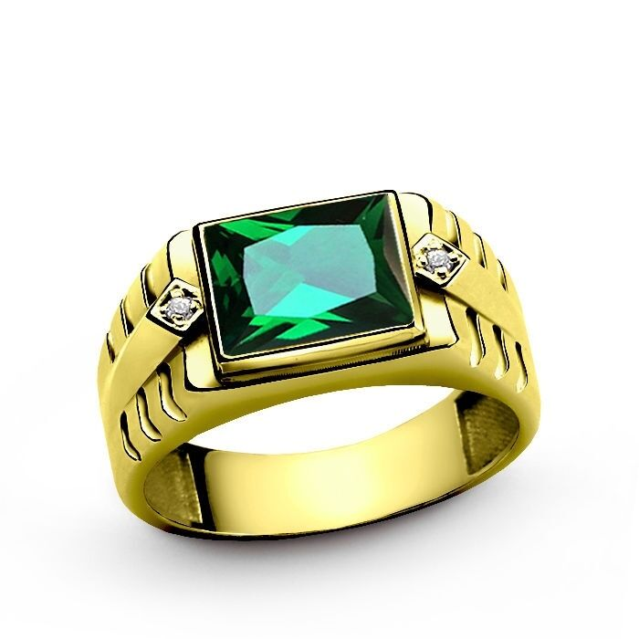 Green EMERALD with DIAMOND Accents in 14K Fine Yellow gold Mens Ring all sz