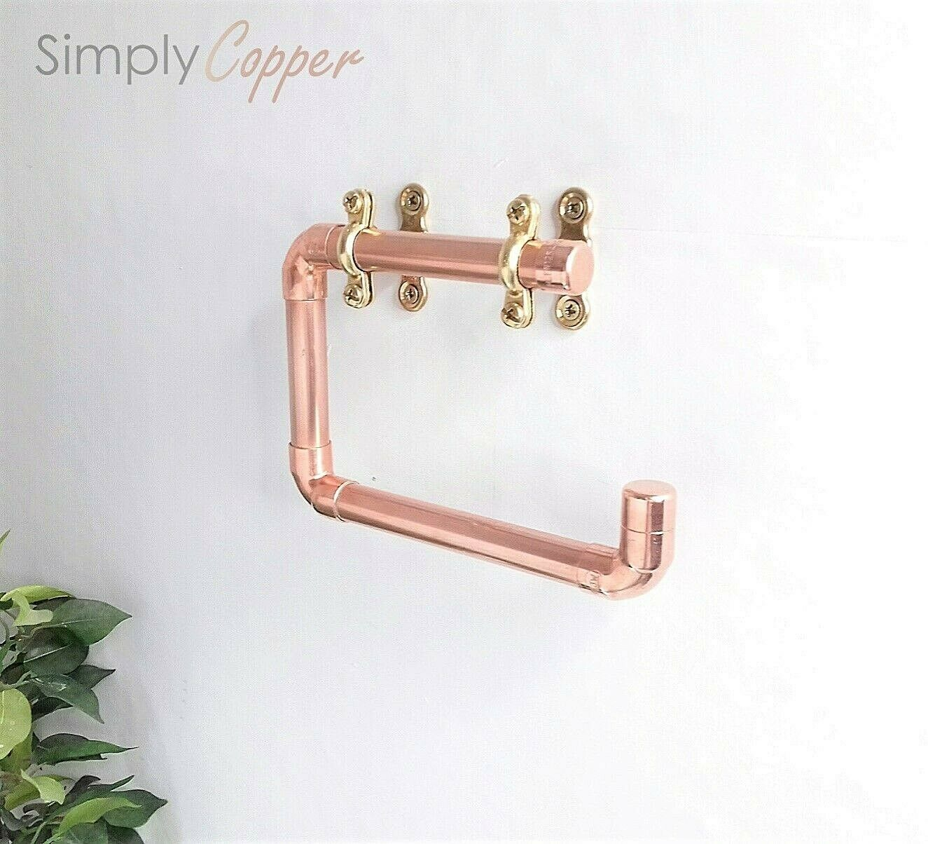 Copper Toilet Roll Holder + Solid Brass Fittings - Handmade With Real Copper
