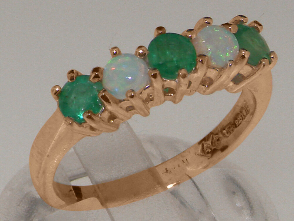 14ct pink gold Natural Emerald & Opal Womens Eternity Ring - Sizes J to Z