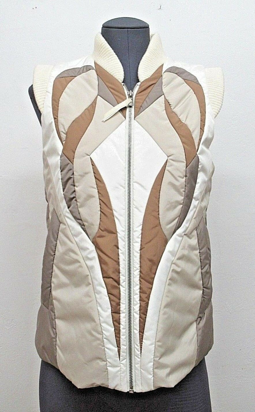 New  BCBGMAXAZRIA F W 2007 Puff Vest with Wool Trim in Brown Size  Small