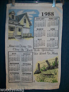Vintage-Calendar-1988-Material-House-fence-Kitchen-Yellow-Green-Free-USA-Ship