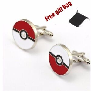 6cd406e51435 Image is loading Silver-Plated-Pokemon-Cufflinks-Cartoon-Pokeball -Cuff-links-
