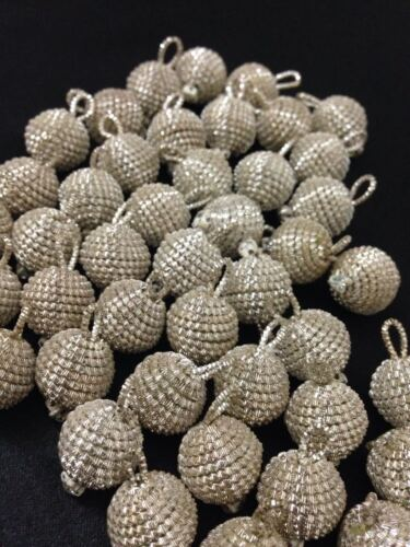 Ball Indian Pom Pom 15 mm 5 OR ARGENT SUPERBE Bullion Round Strass Boutons