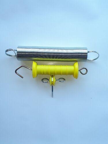 Torgriffisolator 5m ausziehbar Weidezaun Tor 5 x Torgriff mit Feder gelb