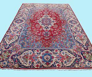 Home Design Floral Persian Carpet Rug Rectangle Blue Wool