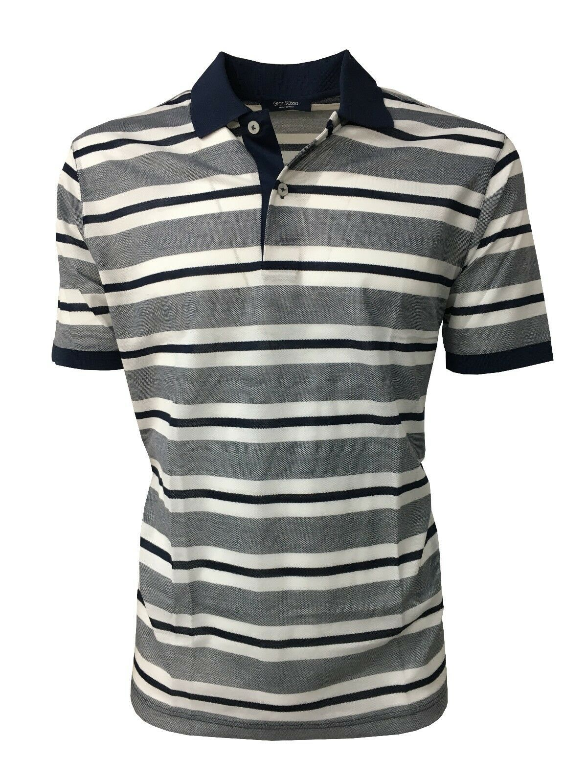 GRANSASSO short sleeve mens polo striped white bluee 100% cotton MADE IN ITALY