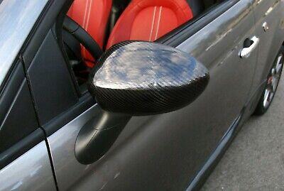 FIAT 500-500C REAL CARBON WING MIRROR COVER FIBER CAPS 2 PCS 2007-2015