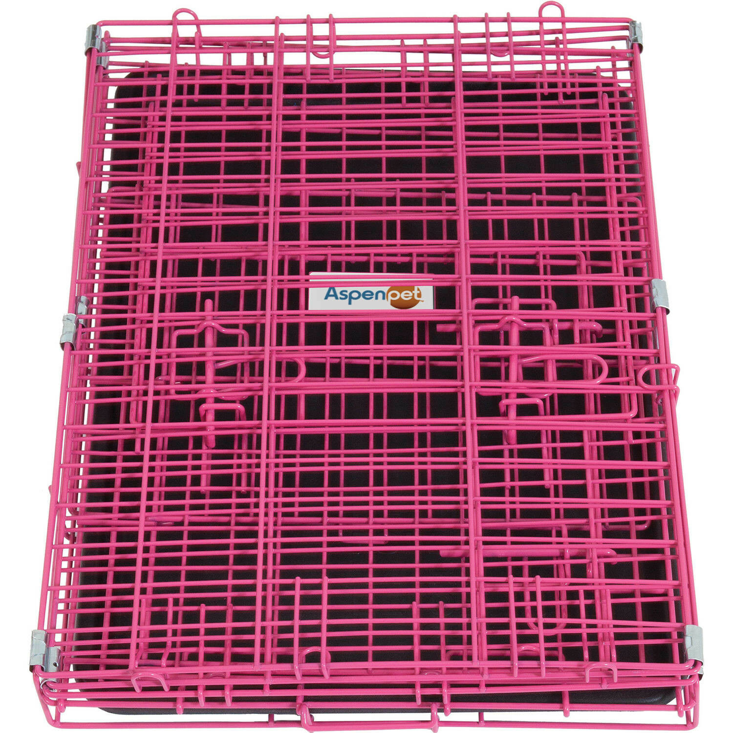 Small Pink Puppy Kennel Girl Dog Crate Sturdy Metal Double Door Divider Cage Car