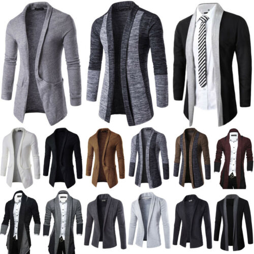 Mens Long Sleeve Knitted Cardigan Open Front Coat Jacket Formal Jumper Sweater