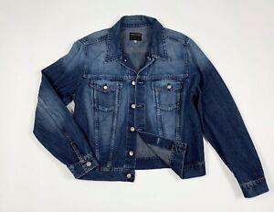 Absolut-joy-jeans-jacket-denim-giacca-uomo-usato-L-used-giubbino-blu-track-T5995
