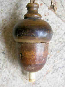 Antiker-Schalter-Klingelkopf-Holz-gedrechselt-elektr-Selten